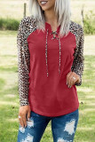 Red Leopard Patchwork Lace-up Front Long Sleeve Top