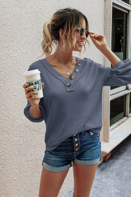 V Neck Button Front Knitted Sweatshirts