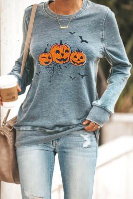 Gray Round Neck Pumpkin Print Halloween Pullover Sweatshirt
