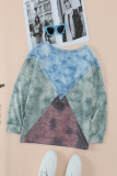 Green Color Block Patchwork Seam Long Sleeve Top