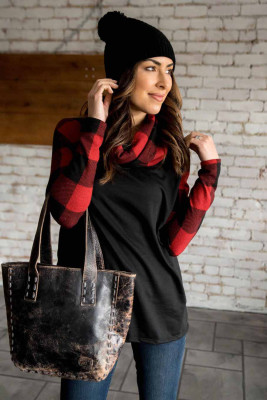 Black Cowl Neck Plaid Splice Casual Long Sleeve Top