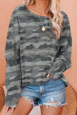 Camo Pullover Long Sleeve Top