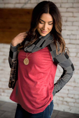 Red Cowl Neck Plaid Splice Casual Long Sleeve Top