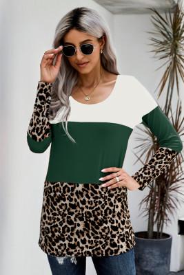 Green Colorblock Leopard Triple Patchwork Long Sleeve Top