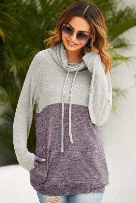 High Neck Colorblock Drawstring Sweatshirts