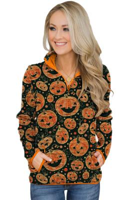 Orange Quarter Zip Halloween Inspired Print Sweatshirt With Pockets
