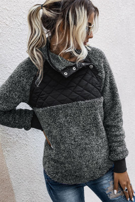 Sloping Neck Fluffy Sweatshirts