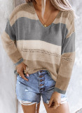 Gray V Neck Colorblock Knitted Sweater with Hollow-out