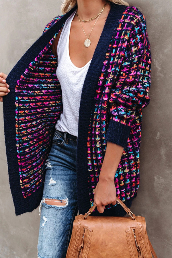 Colorful Knitted Cardigan with Pockets