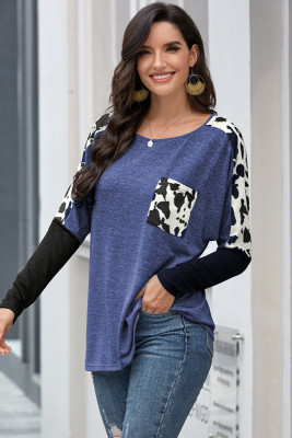 Blue Long Sleeve Leopard Print T-shirt