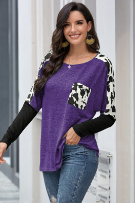 Purple Long Sleeve Leopard Print T-shirt