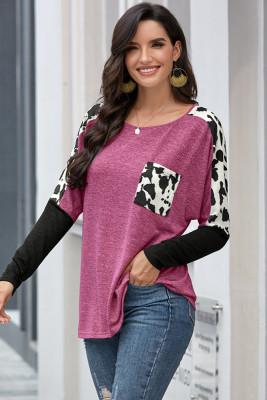 Navy Long Sleeve Leopard Print T-shirt