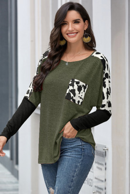 Army Green Long Sleeve Leopard Print T-shirt