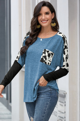 Sky Blue Long Sleeve Leopard Print T-shirt