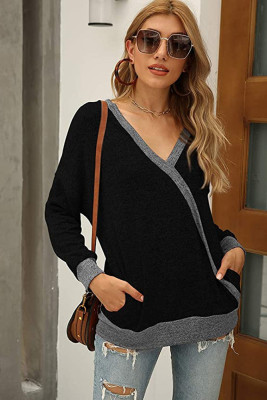 Solid V Neck Tops with Pocket