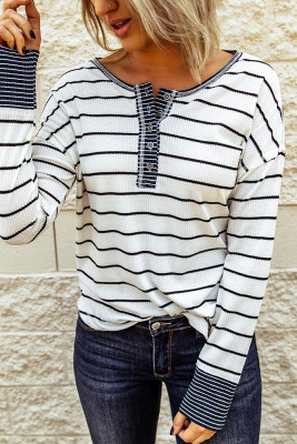 Striped Buttoned Neck Top