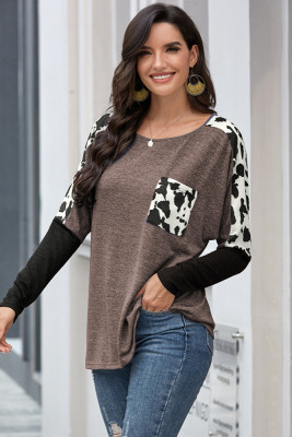 Brown Long Sleeve Leopard Print T-shirt
