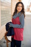 Blue Cowl Neck Stripe Splice Casual Long Sleeve Top