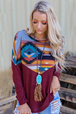 Burgundy Thermal Aztec Long Sleeve Top