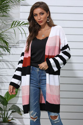 Midi Length Striped Patchwork Cardigan