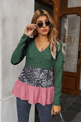 Green V-neck Leopard Stitching Lace Top T-shirt