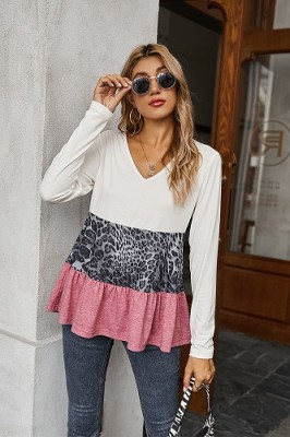 White V-neck Leopard Stitching Lace Top T-shirt