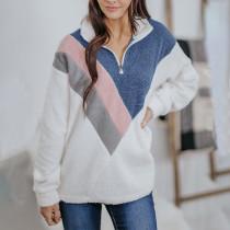 Fluffy Colorblock Sweatshirts