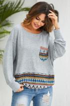 Digital Print Loose Pocket Sweatershirt