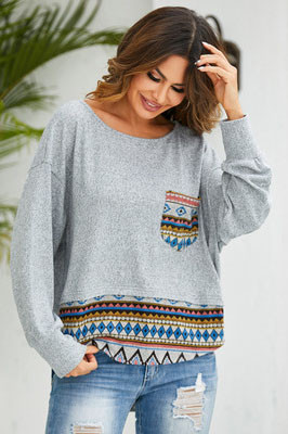 Digital Print Loose Pocket Sweatershirt