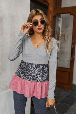 Grey V-neck Leopard Stitching Lace Top T-shirt