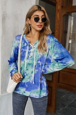 Blue Tie-dye Drawstring Long-sleeved Sweater T-shirt