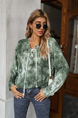 Army Green Tie-dye Drawstring Long-sleeved Sweater T-shirt