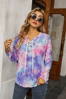 Pink Tie-dye Drawstring Long-sleeved Sweater T-shirt