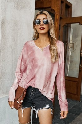 Pink V-neck Tie-dye Long-sleeved Sweater