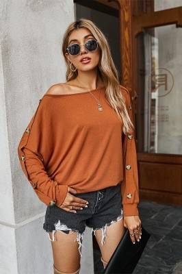 Casual Solid Color Straples Long Sleeve T-shirt Brown
