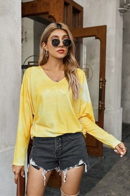 Yellow V-neck Tie-dye Long-sleeved Sweater
