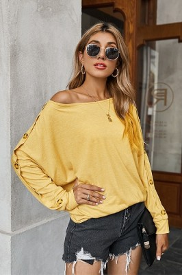 Casual Solid Color Straples Long Sleeve T-shirt Yellow