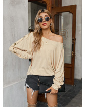 Casual Solid Color Straples Long Sleeve T-shirt Apricot