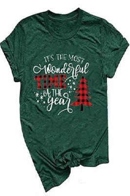 Most Wonderful Time Printed Crew Neck Short Sleeve Green T-shirt