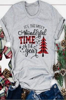 Most Wonderful Time Printed Crew Neck Short Sleeve Light Grey T-shirt