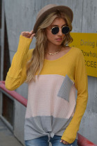 Yellow Long Sleeve T-shirt with Pocket