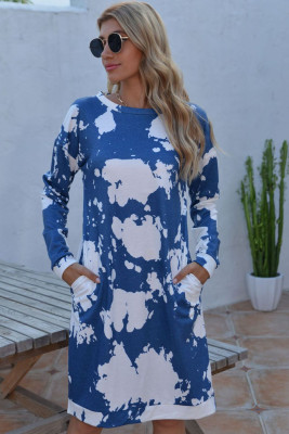 Blue Floral Dress with Pockets