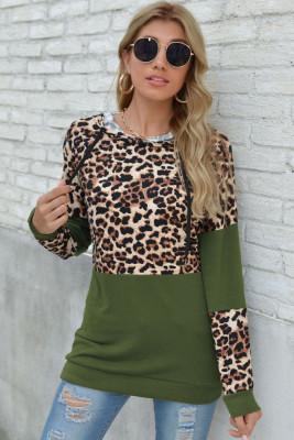 Green Leopard Patchwork Long Sleeve Top