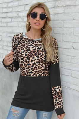 Black Leopard Patchwork Long Sleeve Top