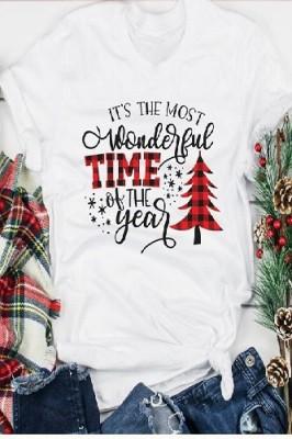 Most Wonderful Time Printed Crew Neck Short Sleeve White T-shirt