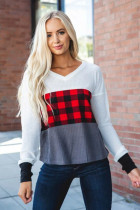Red Plaid Color Block V Neck Long Sleeve Top