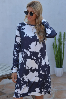 Dark Blue Floral Dress with Pockets
