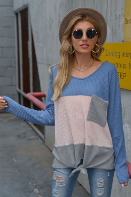 Blue Long Sleeve T-shirt with Pocket