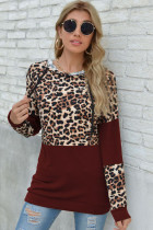 Red Leopard Patchwork Long Sleeve Top