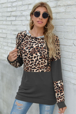 Gray Leopard Patchwork Long Sleeve Top